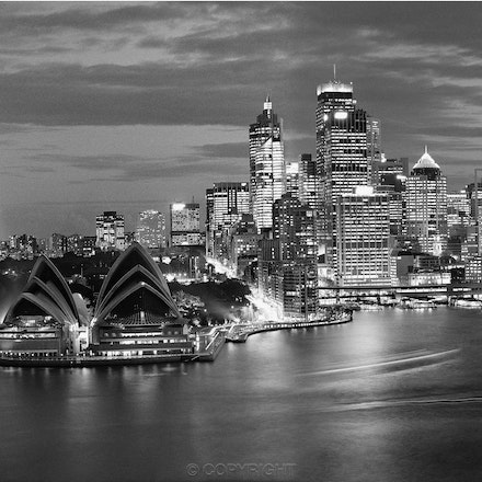 Opera House Circular Quay at Night - Photographed from the 17th floor of an apartment block in Kirribilli using a Hasselblad camera ,tripod mounted and...