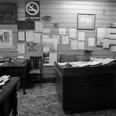 Tanning Office - Each archival photograph is stamped and signed by Robert and a brief description of how it was taken.