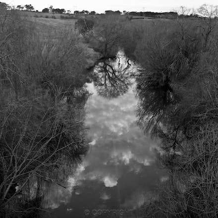 Yass River Reflection - Each archival photograph is stamped and signed by Robert and a brief description of how it was taken.