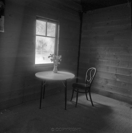 Table and Chair - Each archival photograph is stamped and signed by Robert and a brief description of how it was taken.