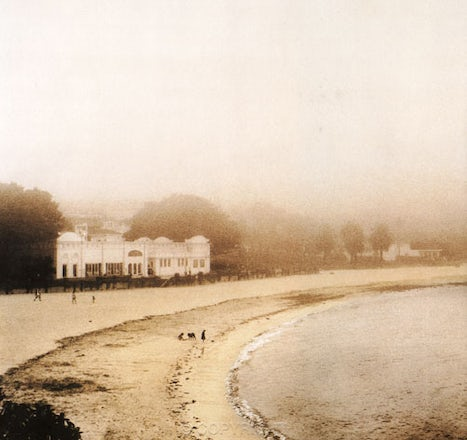 Bathers in the Mist ,Balmoral Beach,Mosman - Hand coloured print taken in 1994 on film,black and white,then hand coloured with pastels.