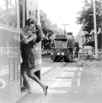 Melbourne Lovers on a Tram - Each archival photograph is stamped and signed by Robert and a brief description of how it was taken.