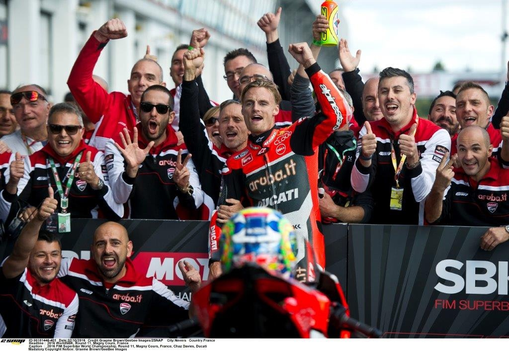 Chaz Davies and Ducati celebrate the double