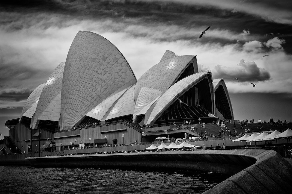 OPERA HOUSE AAA_1540 - Opera House, Sydney, Australia, black and white, Bennelong Point,