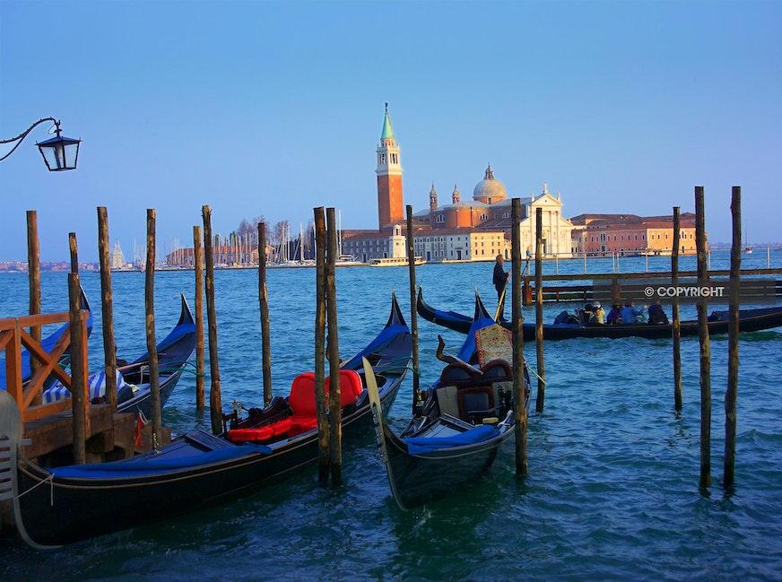 GONDOLAS GM5J6564 - Gondolas, Venice, Italy, Campanile in the distance,