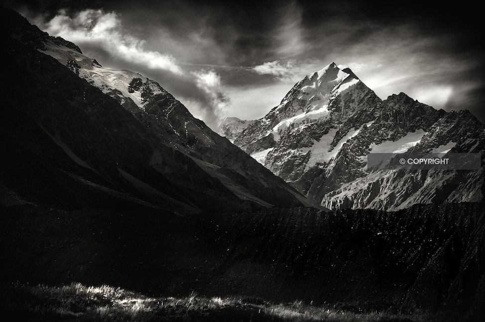 MOUNT COOK AAA_1402 snow - Mount Cook, black and white, high peak, NZ,