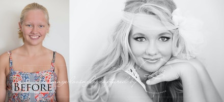 Before-and-after - Before and After from sweet 16 teen glamour portrait session in our Edens Landing, Logan City studio, captured by Kerry Bergman.