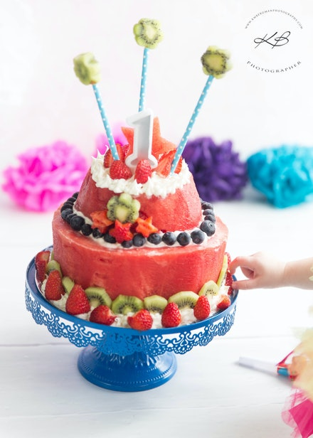 Cake Smash Cake - Colourful Cake Smash images by Logan City Photographer Kerry Bergman, captured in her Edens Landing Studio