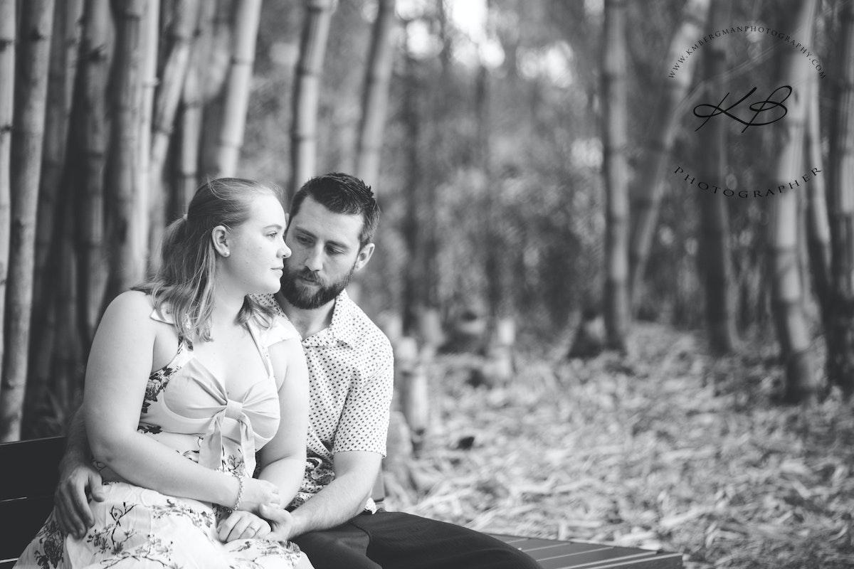 Location Engagement Portraits - Couples portraits, celebrating engagement, with Logan City Photographer Kerry Bergman.  Image captured at Mt Coot-tha Botanical...