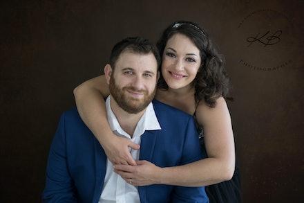 Studio Engagement Portraits - Couples portraits, celebrating engagement, with Logan City Photographer Kerry Bergman in her Edens Landing Studio.