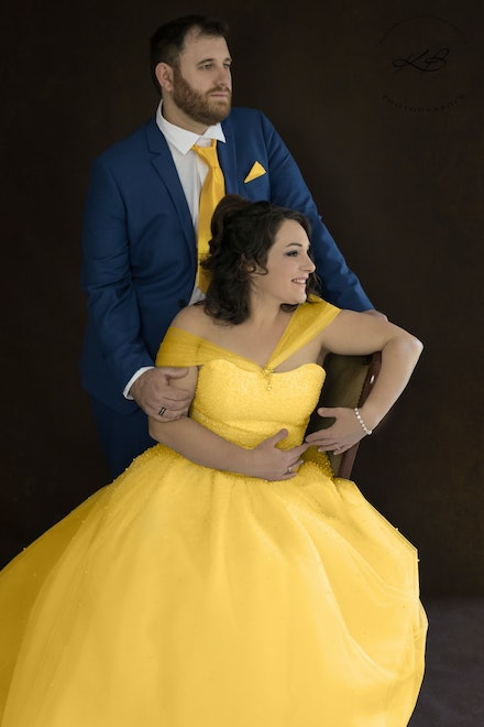 Beauty and the Beast inspired Engagement Portraits - Couples portraits, celebrating engagement, with Logan City Photographer Kerry Bergman in her Edens...