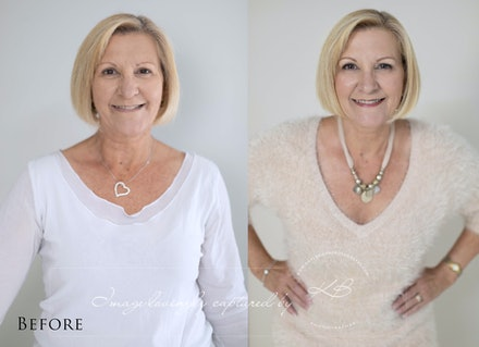 Before and After - Before and After from Ingrid's glamour portrait session in our Edens Landing, Logan City studio.
