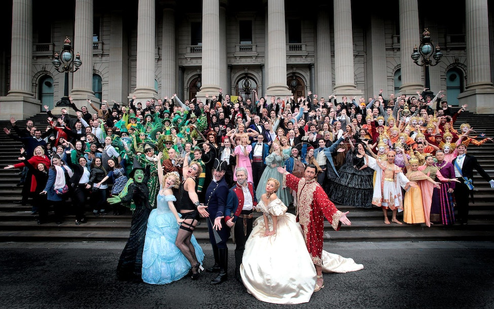 4 musicals  0012 - 4  musicals currently showing in Melbourne, Wicked, Les Miserables,  Rocky Horror and The King and I casts came together on the steps...