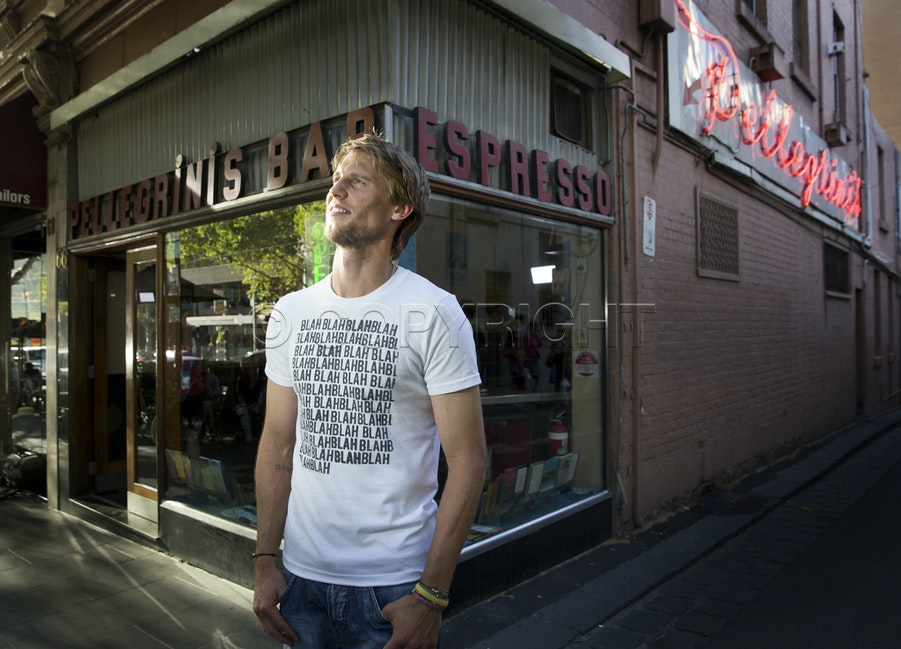 Andreas Seppi - Australian Open 2015. day  6 Andreas Seppi visited Melbourne's iconic Pellegrinis in Collins St Melbourne for some pizza