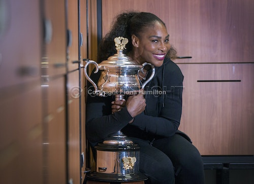 A34T8619 - AO 2017  Day 13  Winner Serena Williams in locker room with trophy