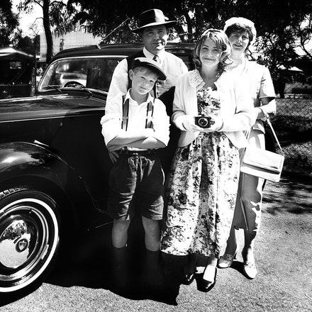 1940's family day out - A family portrait, as if straight from the 1940's or 50's.