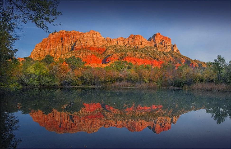 Beaver-Pond-Reflections-Springdale-U0247-18x34