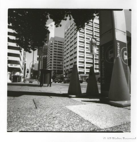 St Georges Terrace, Perth - Pinhole image, medium format film, Ilford Warm Tone Fibre print.