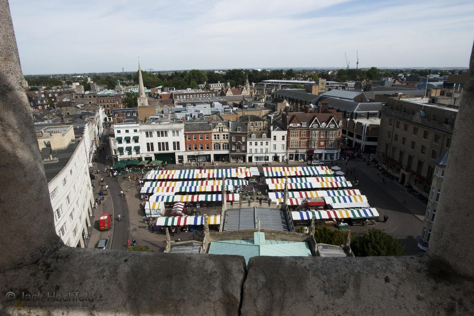 Market square, Cambridge - A view of Market Square in Cambridge, taken from an adjacent tower.