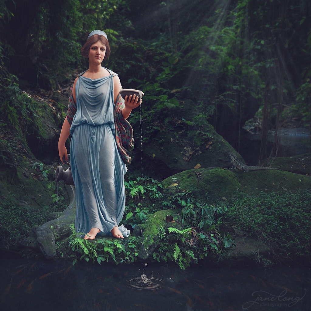 Hebe - Original image of statue taken at Ballarat Botanical Gardens, Vic.