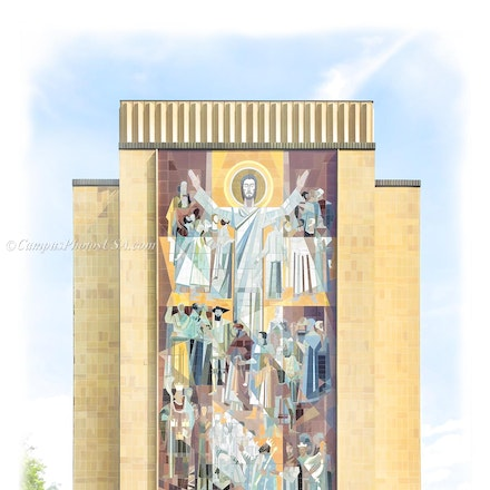Hesburgh Library, Notre Dame/Digital Watercolor_2436_543_548 - Photo by Campus Photos USA. The Hesburgh Library is the main library on the campus of the...