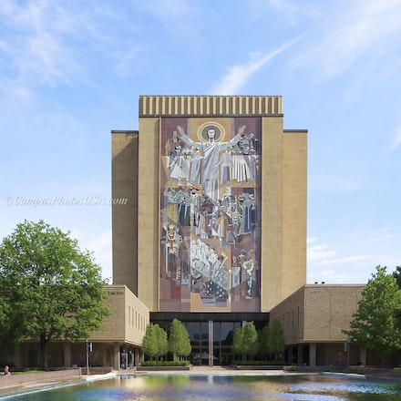 Hesburgh Library, Notre Dame/Color Photo_2430_543_548 - Photo by Campus Photos USA. The Hesburgh Library is the main library on the campus of the University...