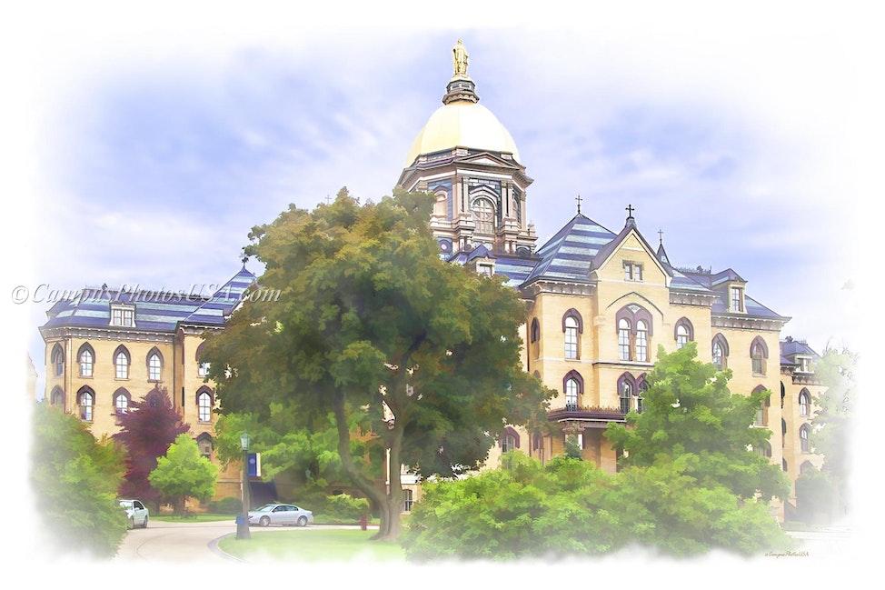 The Main Building Notre Dame/Digital Watercolor_2436_1549 - Photo by Campus Photos USA. The Main Building on the campus of Notre Dame, Notre Dame, IN was...