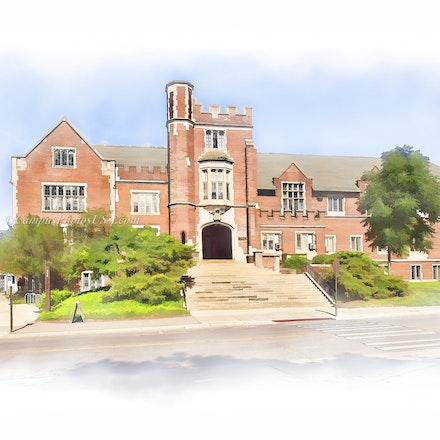 Pomerene Hall, the Ohio State University/Digital Watercolor_2436_1189 - Photo by Campus Photos USA. The Pomerene Hall on the college campus of the Ohio...