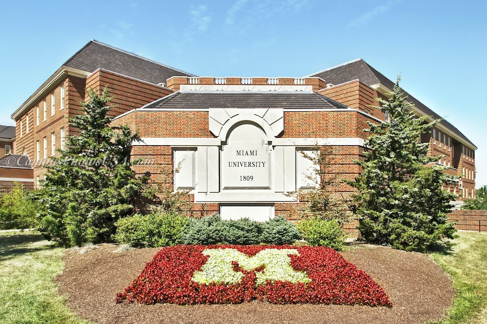 Miami University Image of Sign, Oxford OH/Color Photo_2436_3943_3_ - Photo by Campus Photos USA. The welcoming sign on the college campus of  Miami University,...