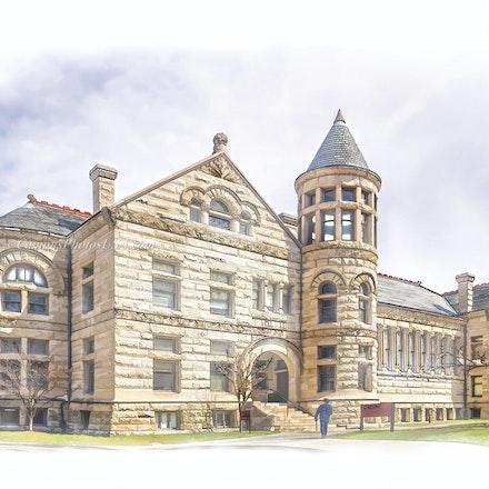 Maxwell Hall, Indiana University/ Digital Watercolor_2436_6149_2_ - Photo by Campus Photos USA. Maxwell Hall, on the campus of Indiana University in Bloomington,...