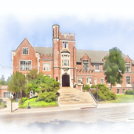 8x10. Pomerene Hall, the Ohio State University/Digital Watercolor_24 x 30_1189 - Photo by Campus Photos USA. The Pomerene Hall on the college campus of...
