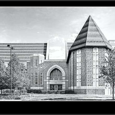 MarieP.DeBartoloCenterPerformingArts_Notre.Dame_BW.Photo_1632_465 - Photo by Campus Photos USA. The Marie P. DeBartolo Center for the Performing Arts was...