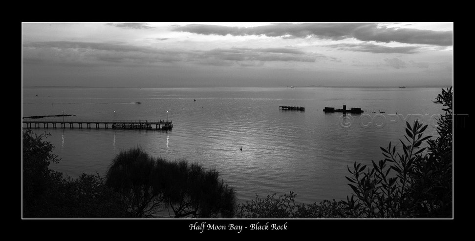 Half Moon Bay, Black Rock IMG_7273 - After sunset at Half Moon Bay, Black Rock showing the Pier and H.M.V.S. Cerberus