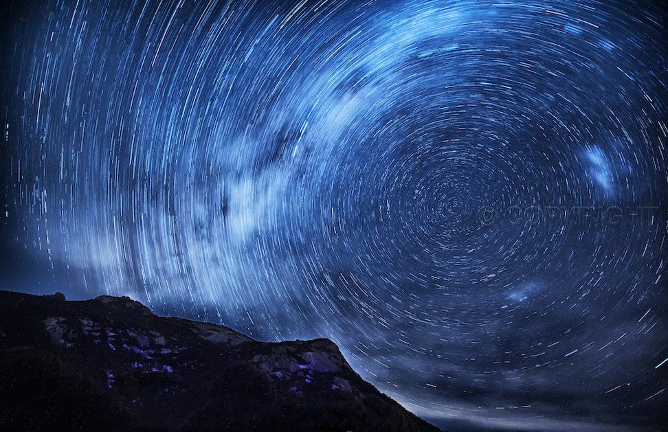 Flinders Island Star Trail - This star trail capturing the southern celestial pole was taken at Trouser Point on Flinders Island in Bass Strait.