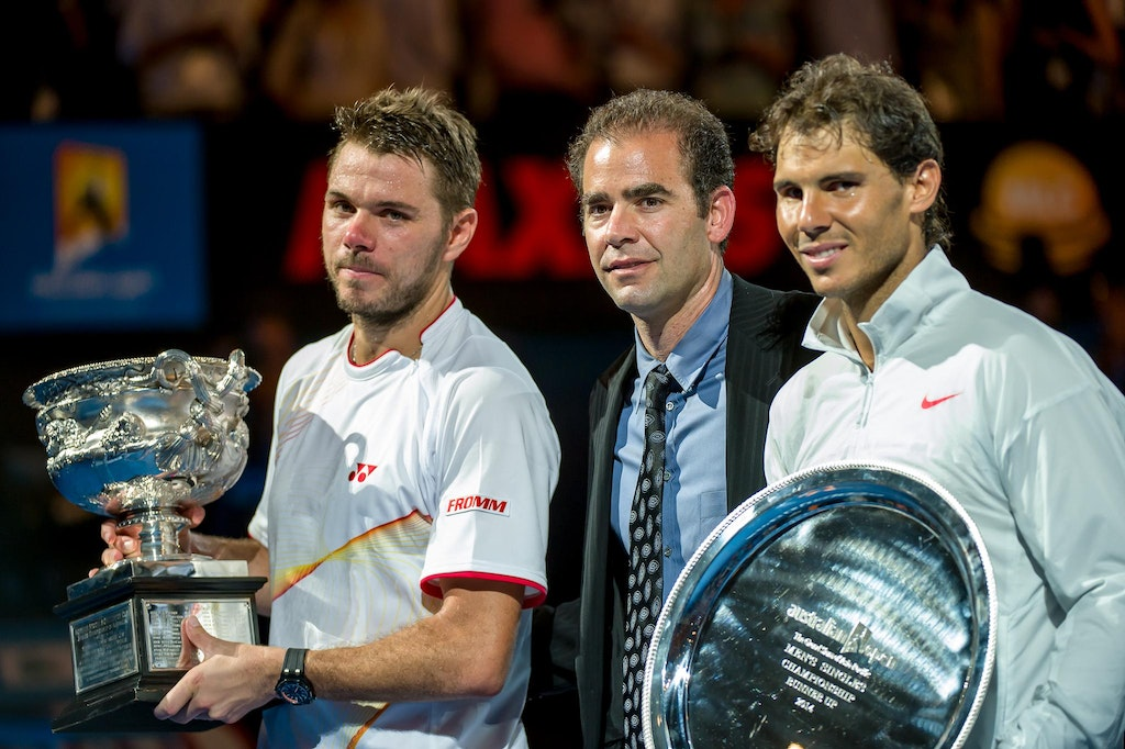_DSC3701 - Stanislas WAWRINKA of Switzerland and Rafael NADAL of Spain pose with Pete Sampras at the trophy presentation ceremony after their men's singles...