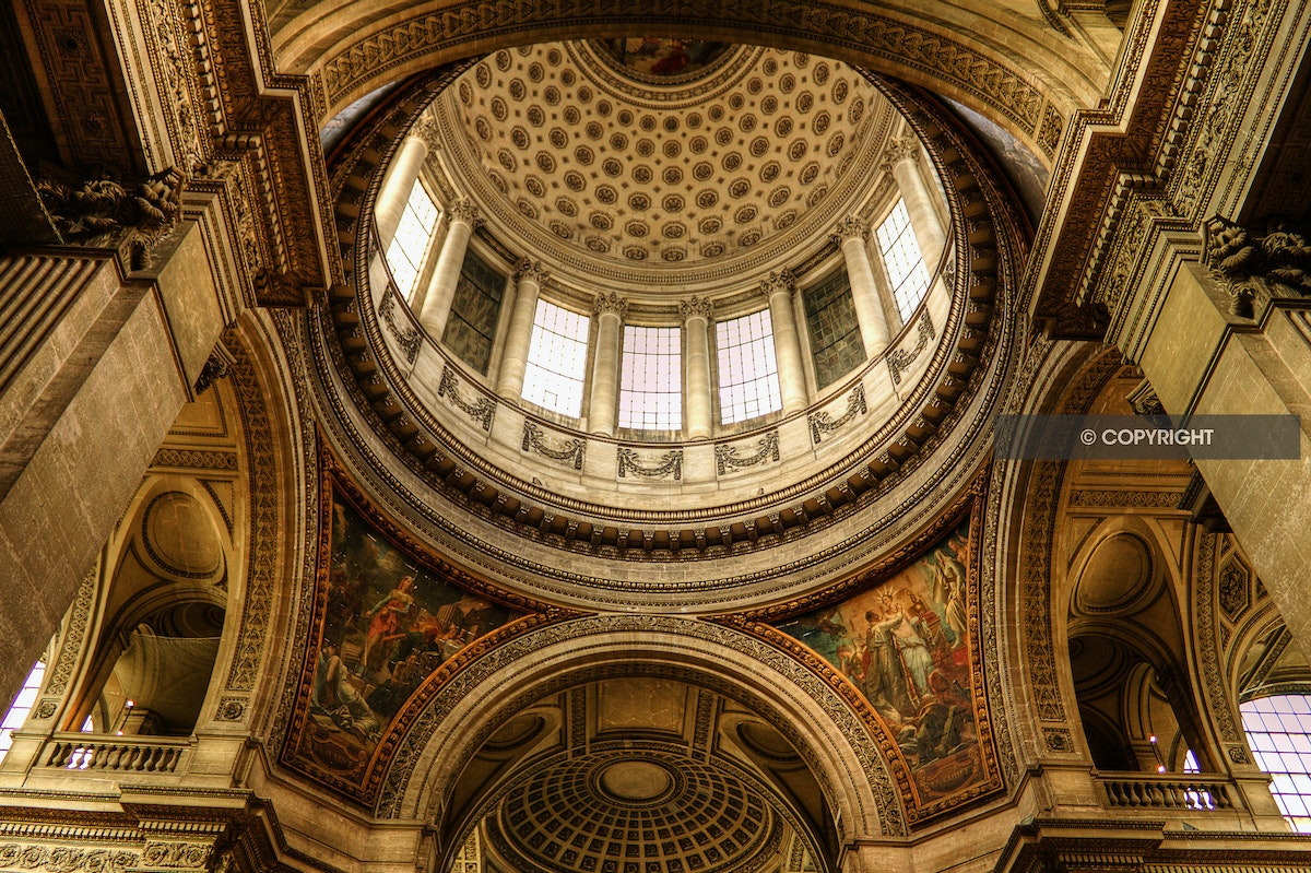 Inside the Pantheon in Paris - This was taken inside the Pantheon in Paris, France.  This canvas print is available in 1 x size of 100cm x 75cm or 40 x...