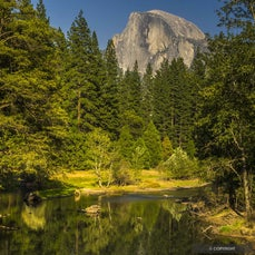 Yosemite National Park - Granite domes, carved by glaciers & graced by waterfalls, tower above broad meadows in the heart of the Sierra Nevada; groves...