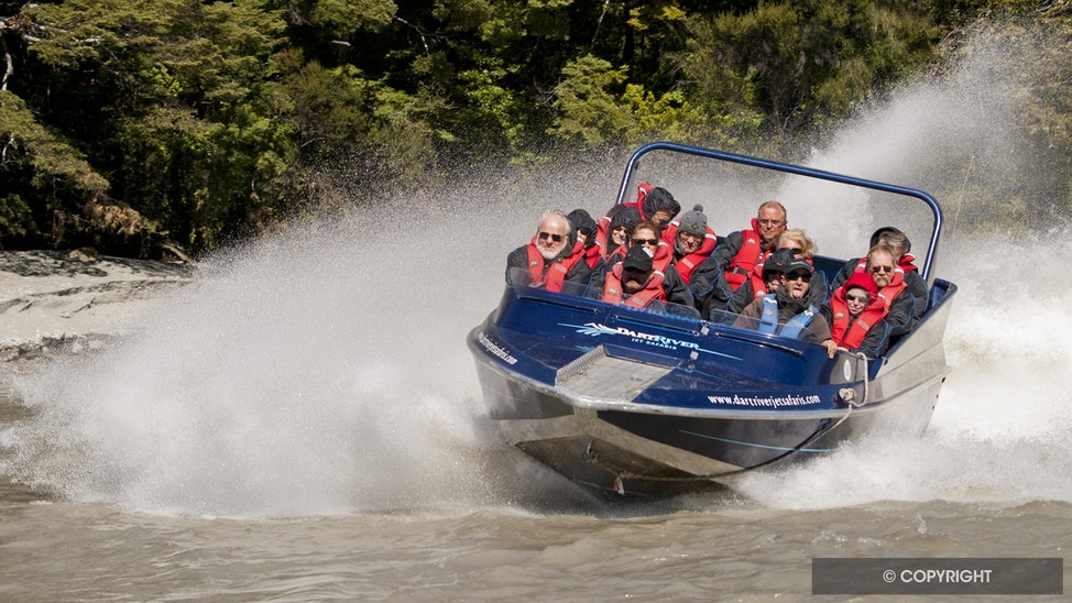 Dart River Spin - Jet boat spin, Dart River, South Island, New Zealand