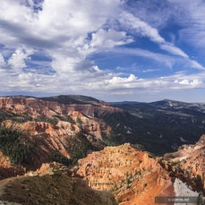 Cedar Breaks National Monument, Utah - Named for  juniper trees, misidentified as cedars, growing on eroded slopes called 'breaks' near Cedar City, Utah