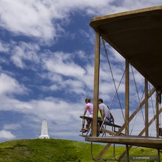 Wright Brothers National Memorial - The site of man's first sustained flight in a heavier-than-air machine hosts the Kill Devil Hill Monument and life-sized...