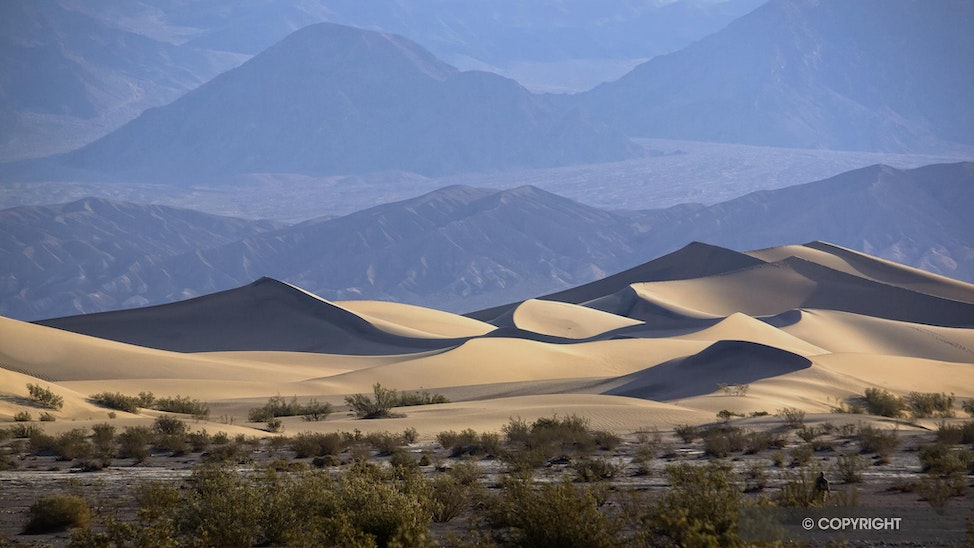 Mesquite Flat Sand Dunes - Dune field and Grapevine Mountains in Death Valley National Park, California and Nevada