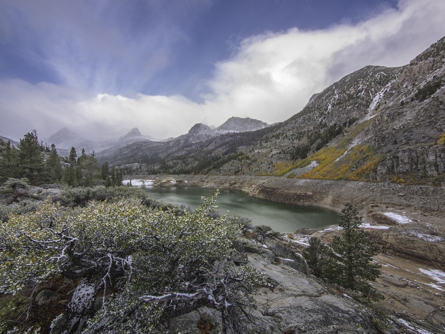 South Lake First Snow - First snow of the 2014-15 season highlights mountains and meadows at South Lake