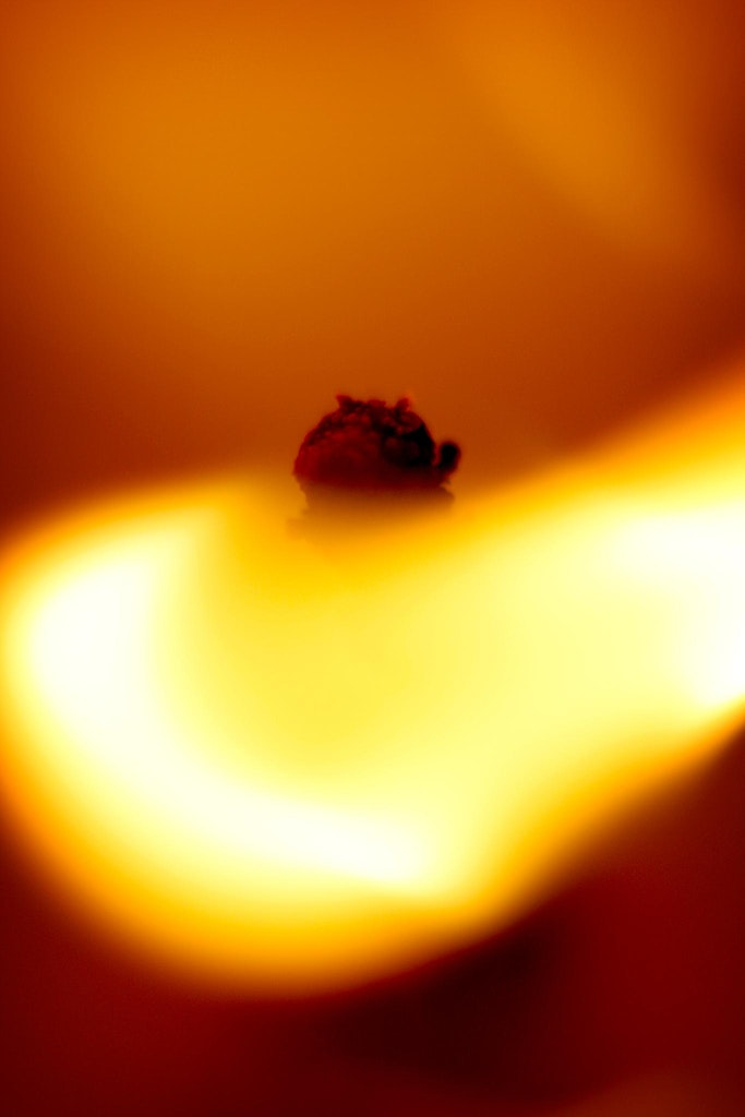 Flame of the heart. - Ever wondered what a lit candle looked like up very close?