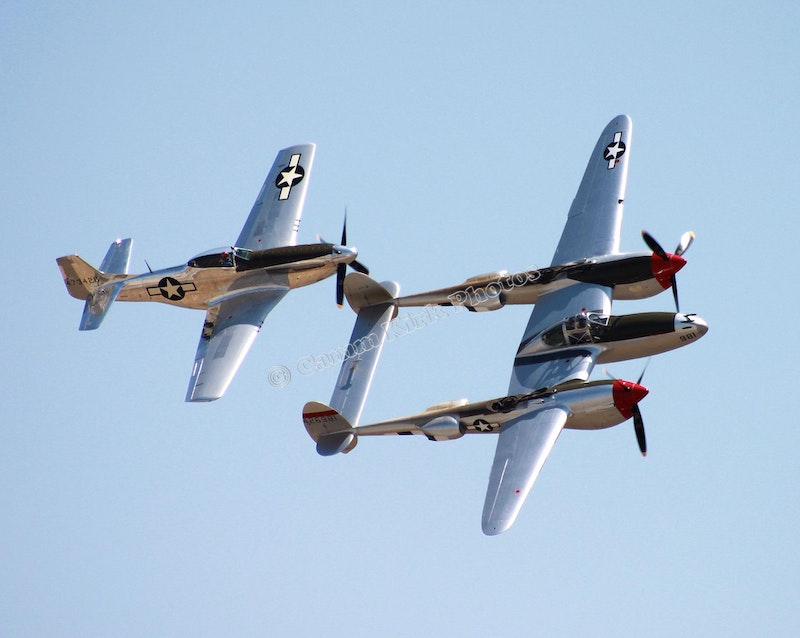 P-38 Lightning with P-51 Mustang Behind - Chino CA