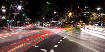 City Lights - Friday night traffic in Sydney CBD