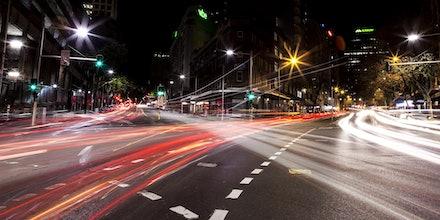 City Lights - Friday night traffic in Sydney CBD