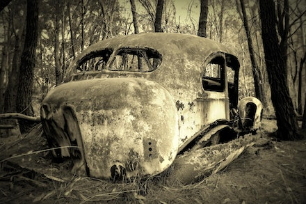 Forgotten - 1940's wreck left in the scrub for 50 years