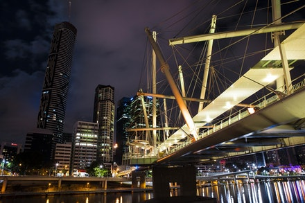 Goodwill Bridge - Brisbane city skyline and riverside expressway in the background.