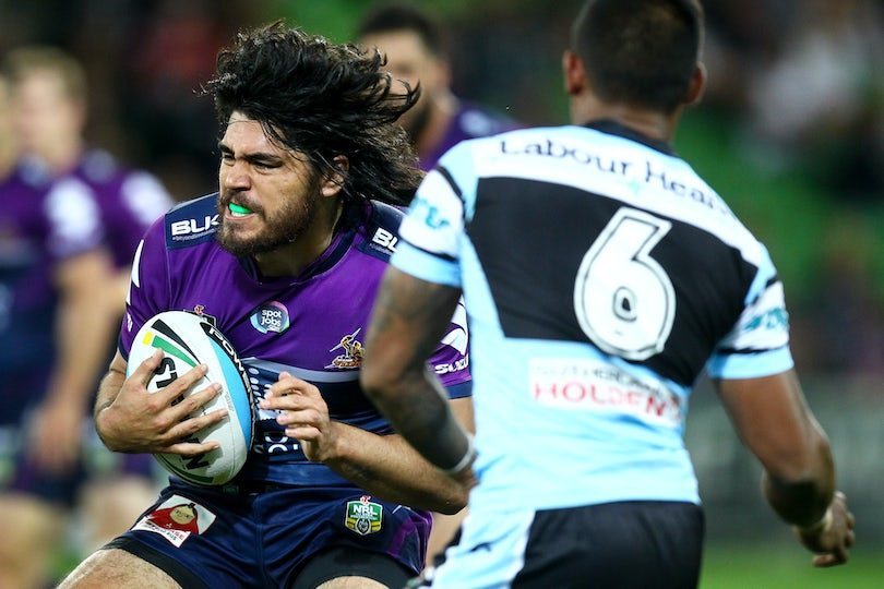 NRL 2015-5 - Tohu Harris (Melbourne Storm)  Digital Image by Ian Knight © nrlphotos.com: NRL, Rugby League, Round 3, Melbourne Storm v Cronulla Sharks...