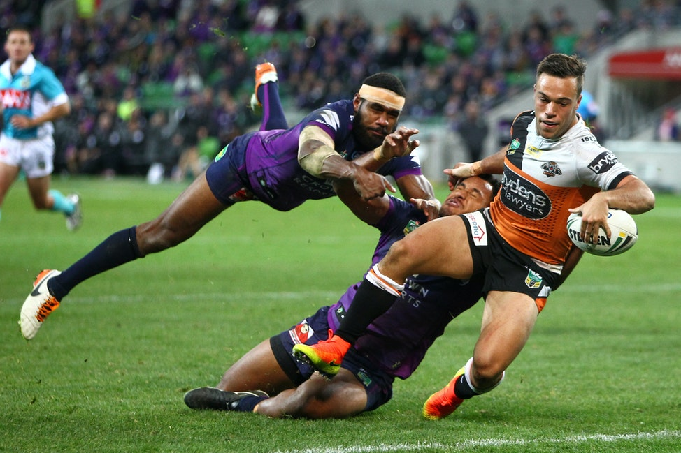 Brooks, L try 1606260217 - NRL Premiership - Round 16 - Melbourne Storm V Wests Tigers - 26 June 2016 - AAMI Park, Melbourne, Vic - Ian Knight